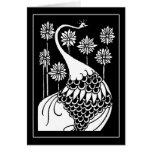 Tarjeta de nota del pavo real de Beardsley Nouveau