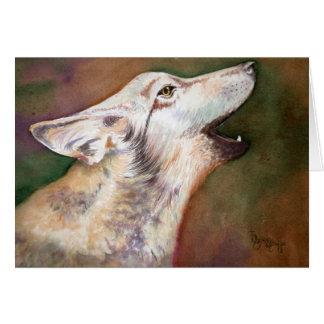 Tarjeta de nota del perrito de lobo del grito