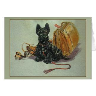 Tarjeta de nota del perro del escocés del vintage