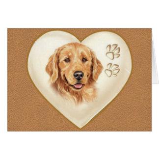 Tarjeta de nota del perro del golden retriever, gr