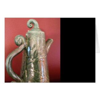 Tarjeta de nota del pote del té de la cerámica
