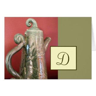 Tarjeta de nota del pote del té de la cerámica w/M