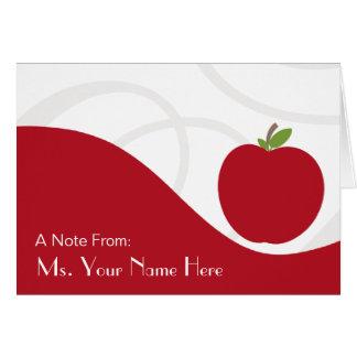 Tarjeta de nota del profesor - Apple rojo