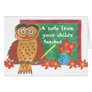 Tarjeta de nota del profesor del búho