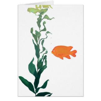 Tarjeta de nota del quelpo y de los pescados