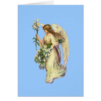 Tarjeta de nota del rezo del ángel del vintage