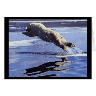 Tarjeta de nota del salto del oso polar