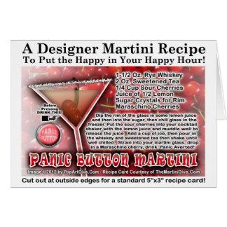 Tarjeta de nota del saludo de la receta de Martini