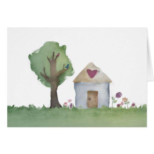 tarjeta de nota del saludo del jardín de la casa d