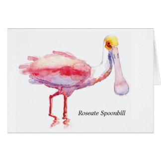 Tarjeta de nota del Spoonbill rosado