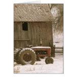Tarjeta de nota del tractor y del granero