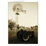 Tarjeta de nota del tractor y del molino de viento