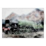 Tarjeta de nota del tren del vapor del vintage del