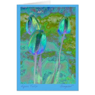 Tarjeta de nota del tulipán de la aguamarina