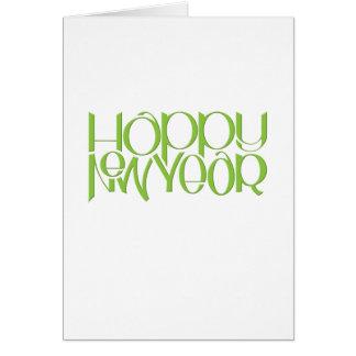 Tarjeta de nota del verde de la Feliz Año Nuevo