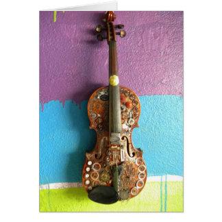 Tarjeta de nota del violín de Steampunk