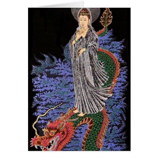 Tarjeta de nota del yin de Kwan