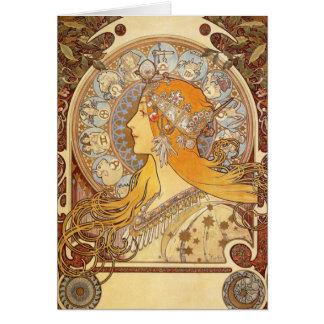 Tarjeta de nota del zodiaco de Nouveau Alfonso Muc