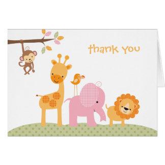 Tarjeta de nota dulce rosada del safari