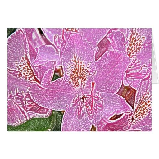 Tarjeta de nota editable del flor rosado del rodod