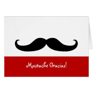 Tarjeta de nota en blanco de Gracias del bigote