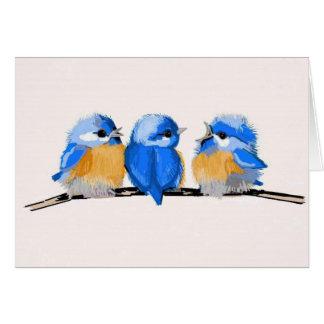 Tarjeta de nota en blanco de tres Bluebirds adorab