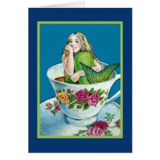 Tarjeta de nota en blanco del té I de la sirena