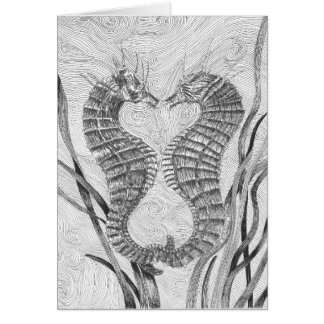 Tarjeta de nota en blanco ligada de los Seahorses