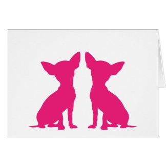Tarjeta de nota en blanco linda del perro rosado d