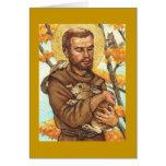 tarjeta de nota en blanco St Francis y conejo
