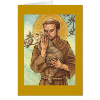 tarjeta de nota en blanco St Francis y gato