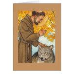 tarjeta de nota en blanco St Francis y lobo