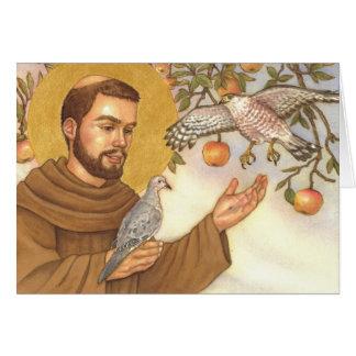 tarjeta de nota en blanco St Francis y pájaros
