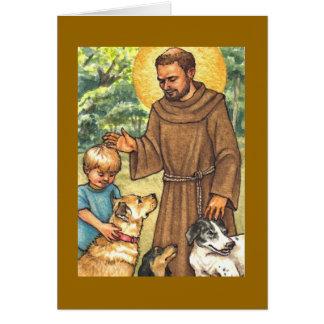 tarjeta de nota en blanco St Francis y perros