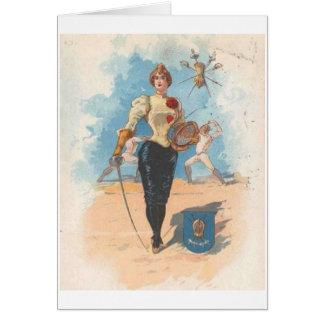 Tarjeta de nota femenina del cercador del vintage