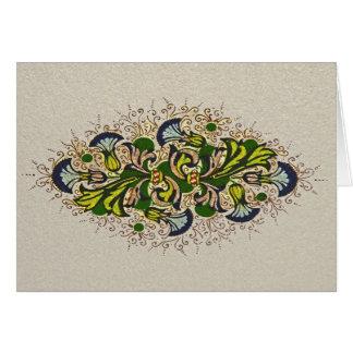 Tarjeta de nota floral de la pintura del renacimie