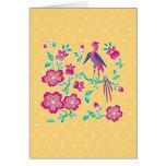 Tarjeta de nota floral del batik de Sakura 2