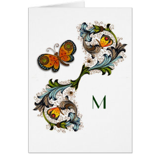 Tarjeta de nota floral del monograma del renacimie