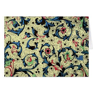 Tarjeta de nota floral del renacimiento florentino