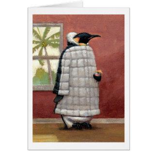 Tarjeta de nota fresca del pingüino