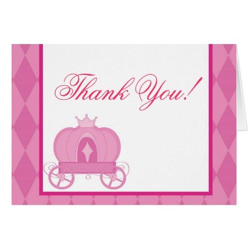 tarjeta de nota, gracias, princesa linda del rosa