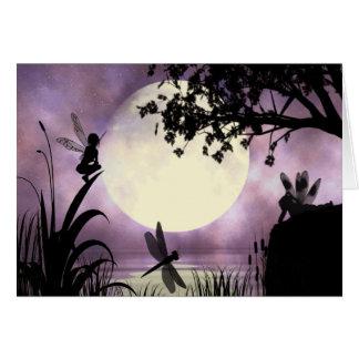 Tarjeta de nota iluminada por la luna de hadas de