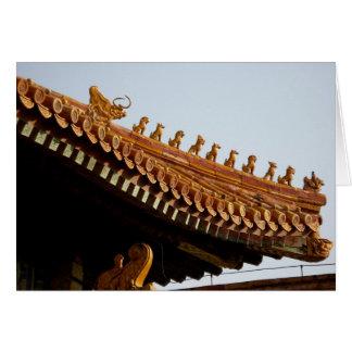 Tarjeta de nota imperial china del tejado