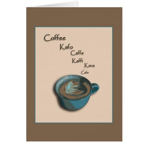 Tarjeta de nota internacional de la taza de café