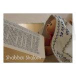 Tarjeta de nota judía de Shabbat Shalom del tallit