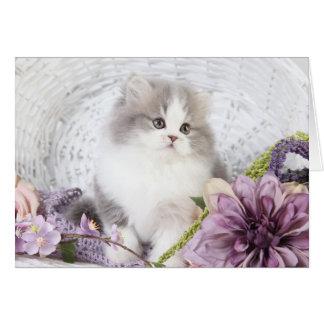 Tarjeta de nota linda del gatito