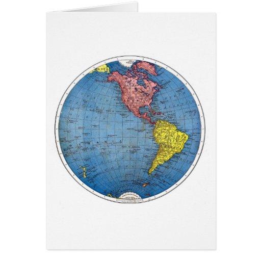 Tarjeta de nota:  Mapa del vintage del hemisferio