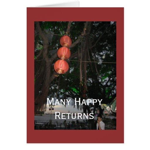tarjeta de nota: Muchas devoluciones felices