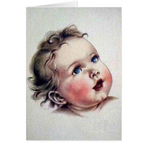 Tarjeta de nota observada azul del bebé del vintag
