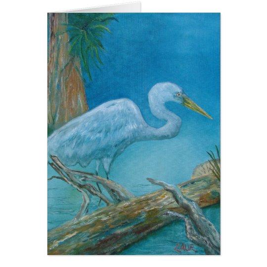 Tarjeta de nota - pájaro tropical blanco en los ma